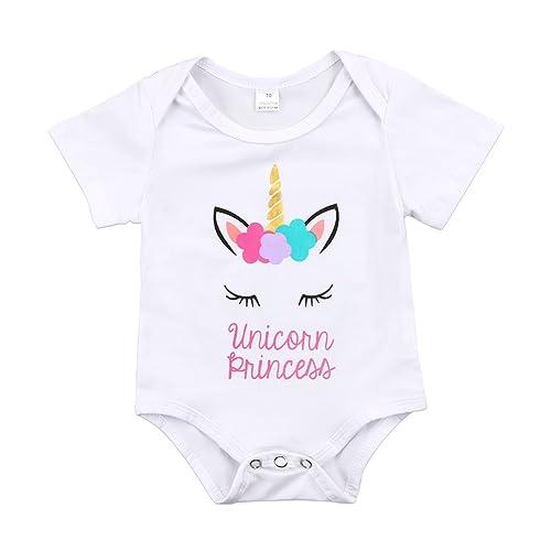 9c679894543 Newborn Baby Girls Unicorn Princess Short Sleeve Romper Bodysuit Summer