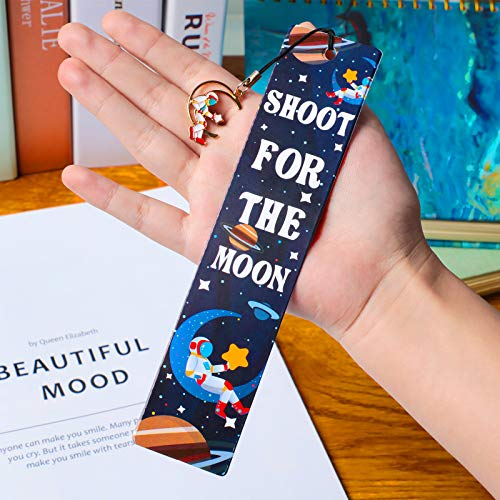 20 Pieces Space Theme Inspirational Quotes Bookmarks with Metal Charms School Classroom Prize Reading Party Favors Presents for Kids Boys Girls Adults Photo #3