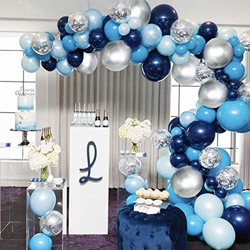 Soonlyn Blue Balloon Garland 124 Pack Navy Silver White Light Blue Balloon Arch Kit for Baby Shower Boy Party Decoration Birthday Decoration