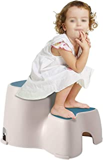 CQILONG 2 Step Stools For Kids Bathroom Foot Toilet Potty Training Double Height Plastic Easy To Move, 2 Colors (Color : B...