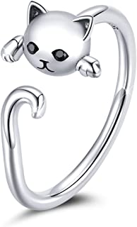 BISAER 925 Sterling Silver Cat Ring Adjustable Rings Kitty Cat Jewelry for Women Gifts