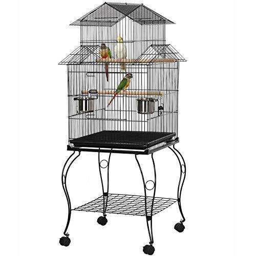 Yaheetech Gabbia Voliera per Uccelli Pappagalli Calopsite in Metallo e Legno con Piedistallo Carrello a Forma di casa Nera 59 x 59 x 139,5 cm