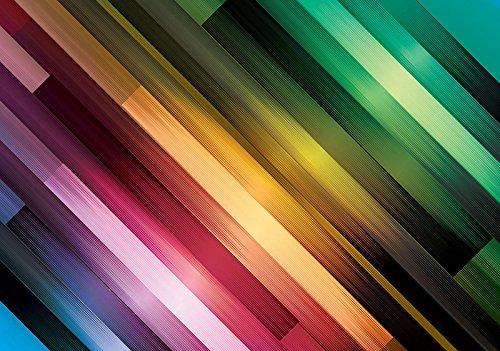 Welt-der-Träume Photo Papier peint Rayures arc-en-ciel     Photo Papier peint 20187 _ P-ms   Motif coloré Bandes abstrait Vert jaune Rouge, P8 (368cm. x 254cm.)