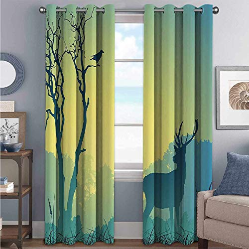 Toopeek Antlers Decor Collection Shading Insulated Curtain Wild Animal Deerfield Meadow Grassland Tree Morning Time Park Landscape Image Patten for Living Room or Bedroom W84 x L72 Inch Olive White