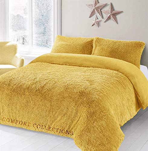 Comfort Collections Teddy Hug & Snug Cuddles Fleece Duvet Quilt Cover Bedding Set With Matching Pillowcase Warm and Cosy Ochre Bedding Set Double 200cm x 200cm Approximately.