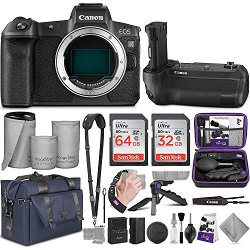 Canon EOS R Mirrorless Digital Camera Body + Canon BG-E22 Battery Grip + Mount Adapter EF-EOS R with Altura Photo Complete Accessory and Travel Bundle