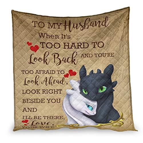 YshChemiy To My Husband Dragon - Colcha de algodón para cama de coche, antibolitas, ropa de cama para hombre y mujer, color blanco 130 x 150 cm