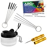 Master Airbrush 13 Piece Airbrush Cleaning Kit - Glass Cleaning Pot Jar with Holder, 5 pc Cleaning Needles, 5 pc Cleaning Brushes, 1 Wash Needle, How to Link Card