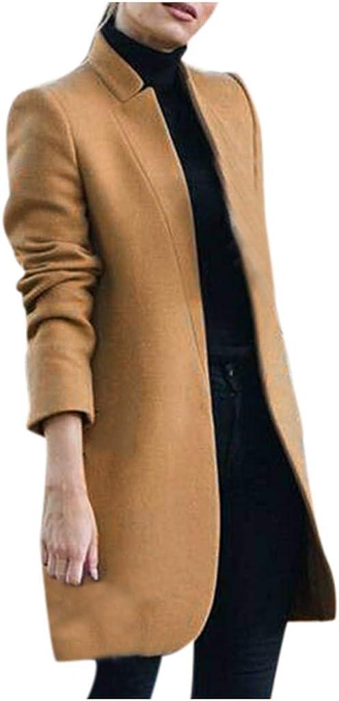 KYLEON Women's Coat Elegant Wool Open Front Long Trench Coat Cardigan Pea Coat Parkas Jacket Overcoat Plus Size S-3XL