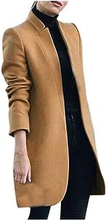 Fanybin Womens Artificial Wool Coat Long Sleeve Trench Jacket Warm Lapel Long Overcoat Outwear Tunic Windbreaker Cardigan
