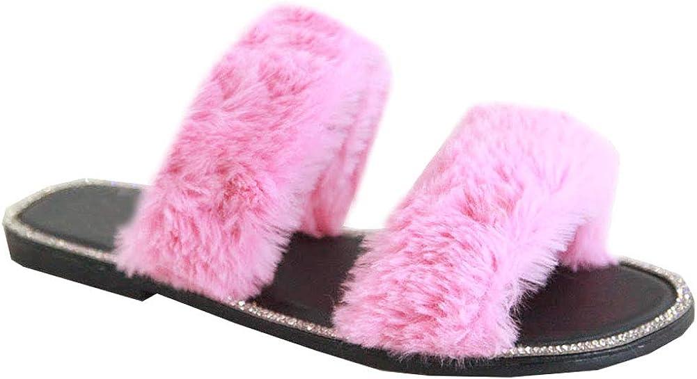 Trends SNJ New Women's Faux Fur Trim Double Strap Glitter Rhinestone Flat Slide Sandal