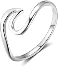 SILBERTALE 925 Sterling Silver Wave Ring for Women Ocean Wave Thumb Ring Size 5 6 7 8 9 10