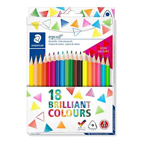 STAEDTLER Buntstifte ergosoft (erhöhte Bruchfestigkeit, ergonomische Dreikantform, rutschfeste Soft-Oberfläche, Set mit 18 brillanten Farben, Neon-Farben, Kartonetui, 157 C18P1 ST)
