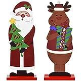 heekpek 2 piezas de decoración de mesa de Navidad letreros de madera Samta Claus reno, muñeco de nieve de doble cara, decoración de fiesta de Navidad