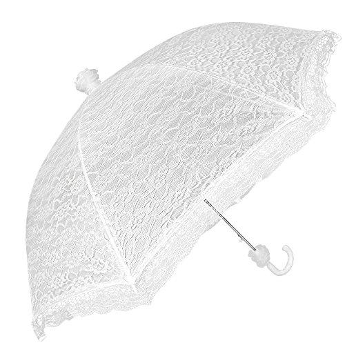 Ombrello Sposa in Pizzo Bianco da Donna - Ombrello Classico da Matrimonio Automatico per Pioggia e Sole - Ombrello Wedding Elegante Cerimonia con Manico di Pizzo - Diametro 87 cm - Perletti (Pizzo)
