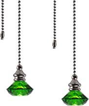 Ceiling Fan Pull Chain Set - 2 Pieces Green Diamond Fan Pull Chains 20 Inch Ceiling Fan Chain Extender with Chain Connecto...