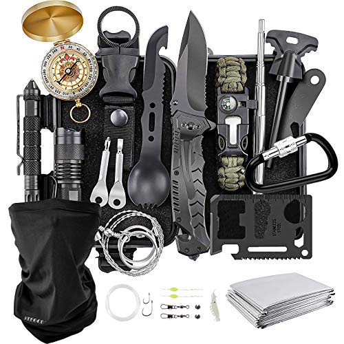 Camping Gear, KEEGOP Hiking Accessories 17 in 1 Tactical Kit Survival Tools for Outdoor Hunting Equipment, Birthday Gifts for Men Dad Husband Kids, Emergency Gadgets for Earthquake Hurricane