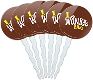 GRAPHICS & MORE Willy Wonka and The Chocolate Factory Wonka Bar Logo Cupcake Picks Toppers Decoration Set of 6