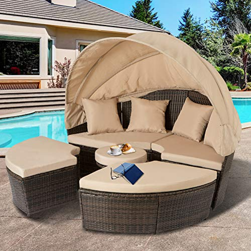 Aoxun Outdoor Patio Daybed Backyard Round Bed with Retractable Canopy and Washable Cushions, PE Wicker Bed Furniture Set Lounge Patio Sofas for Pool Area, Brown