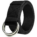 JINIU Military Tactical Belt Long Double D Ring Big Mens Canvas Fabric Cloth nylon Belts Black Color (JNSG28)