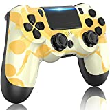 GOLDJU Game Controller for P-S4, Wireless Controller with Dual Vibration Game Joystick, Bluetooth Gamepad Remote for P-S4 (Yellow Camo)