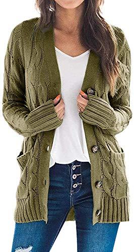 Aagers - Chaqueta de punto para mujer con bolsillo frontal abierto, manga larga, para otoño e invierno, con bolsillo Verde militar. M