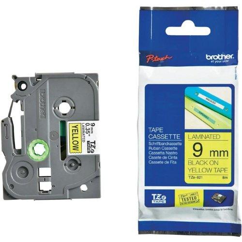 Beschriftungsband TZFX621 für Brother P-touch, Schwarz auf Gelb, 9 mm, Schriftband TZ-FX621, TZe-FX621, TZeFX621, 9mm breit, 8mtr.