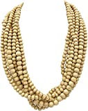 Gypsy Jewels 8 Row Layered Wood Beads Chunky Statement Necklace (Light Natural Brown)