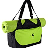 Etopfashion wasserdichte Fitness-Tasche, Rucksack, Umhängetasche mit verstellbaren Riemen (nur Tasche), mit Halterung für Yoga-Matte, damen, grün