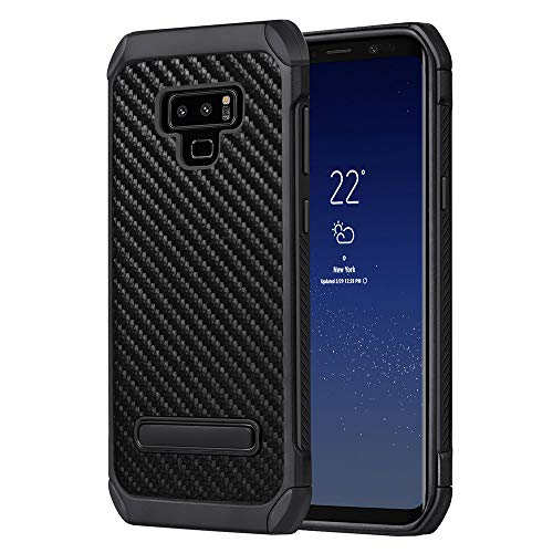 YCFlying Galaxy Note 9 Case Shockproof Dual Layer Protective Defender Anti-Shock and Anti-Slip Protective Case with Hard PC Soft TPU for Samsung Galaxy Note 9 Black