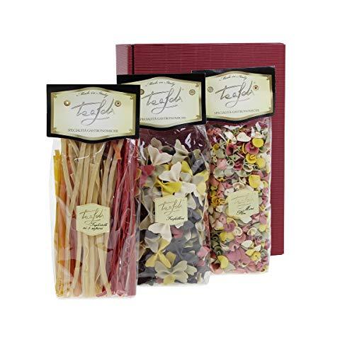 Tealdi Nudelbox, Nudeln Probierpaket, Geschenkset, Pasta Geschenkbox, bunt, farbig, 1250 g