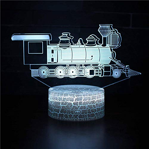 Retro train-3D Illusion Lamp Led Night Light USB 7 Colours Flashing Switch Hallway Bedroom Decoration Lighting for with Acrylic Flat, ABS Base, USB Cable-Touch