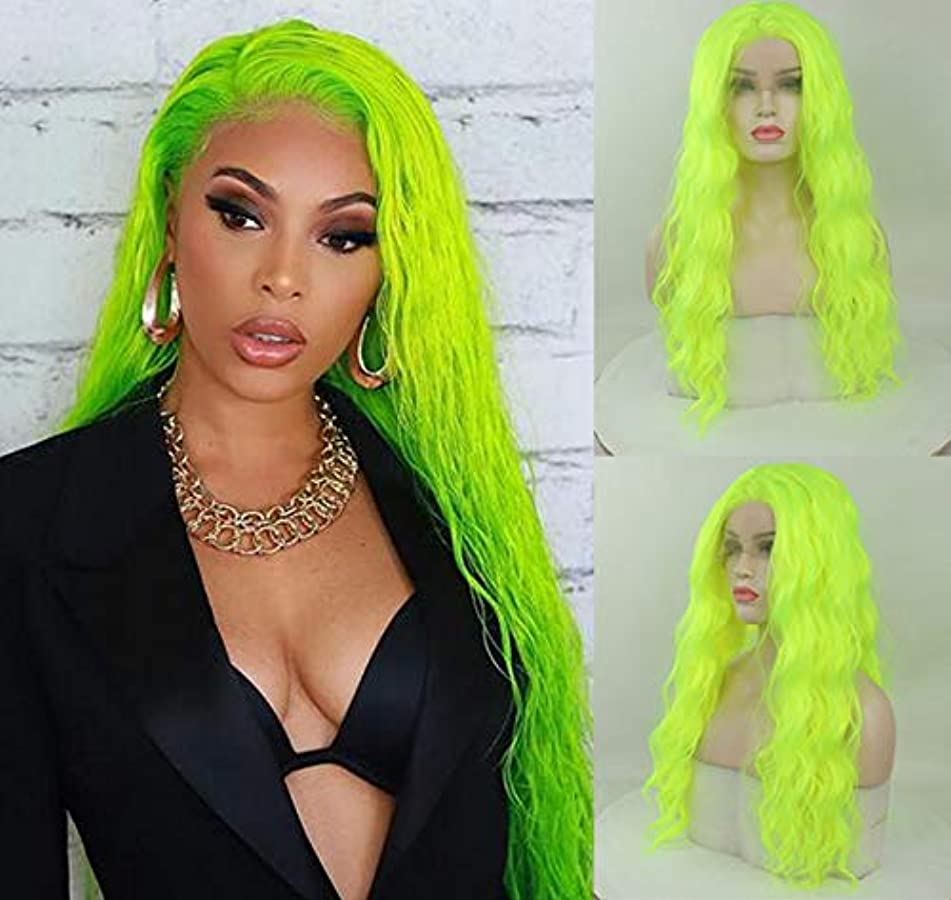 Party Queen Light Fluorescent Green Wigs with Middle Part Pastel Green Lace Front Wigs for Women Party Heat Resistant Fibers Long Deep Wave Wigs Realistic Cosplay Wigs 24inch