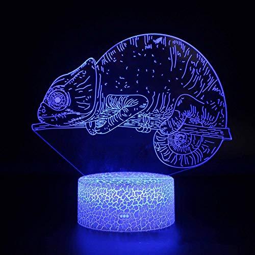 CYJQT 16 Farben Nachtlicht, Bluetooth Lautsprecher, Uhren, Tierisches Chamäleon, Nachtlicht für Kinder Geburtstagsgeschenk 3D Illusionslampe Optische LED Schreibtisch Geschenke für Jungen Männer Wohnk