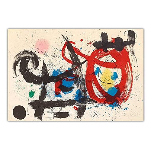 bdkym Joan Miro 《El Caballo Borracho》 Lienzo Abstracto Pintura Al Óleo Obra De Arte Póster Imagen Decoración De La Pared Decoración De La Sala De Estar del Hogar-60X80Cmx1 Sin Marco