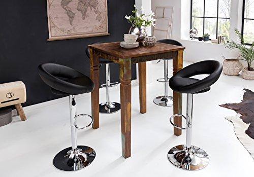 KADIMA DESIGN Rustikaler Stehtisch ATTUKLAK 80 x 80 x 110 cm Massivholz Bartisch für 4 Personen Tisch für Bar Partytisch Shabby Chic Hochtisch Massiv Holz