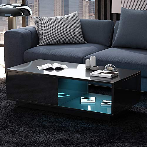 Wonderlife High Gloss White Rectangle Coffee Table, LED Light Modern Side/End/Sofa Table with shelf and drawer, Living Room Home Office Furniture (Black)
