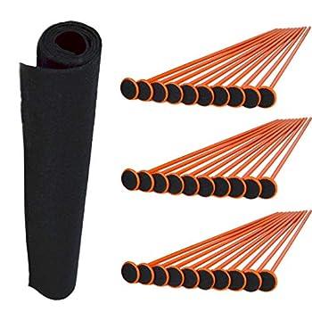 "Gun Storage Solutions Rifle/Shotgun Plastic Kit and Shelf Liner - Rack for Gun Cabinet Gun Safe Organizer Accessory Includes 40 Orange 16-Inch Rods and 45"" x 19"" Black Woven Nylon Loop Fabric"