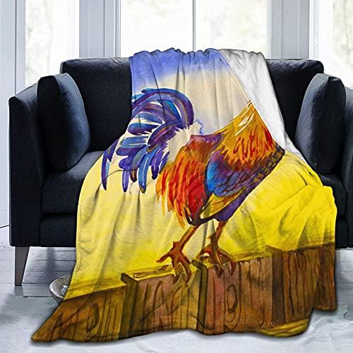 QUEMIN Manta de forro polar de franela de tamaño completo en amarillo amanecer manta ligera, manta de felpa para todas las estaciones para sofá, cama, viajes, camping o niños adultos de 127 x 101 cm