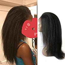 Enoya Hair Best Italian Yaki 360 Lace Frontal Wig Pre Plucked Brazilian Remy Lace Human Hair Wigs for Black Women 180 Density (16