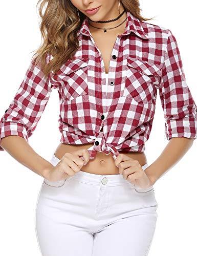 Aibrou Camisa de Cuadros para Mujer,Algodón Blusas Franela de Manga Larga Casual Clásica con Botones,Camisas a Cuadras para Primavera Otoño Invierno (Vino Rojo, S)