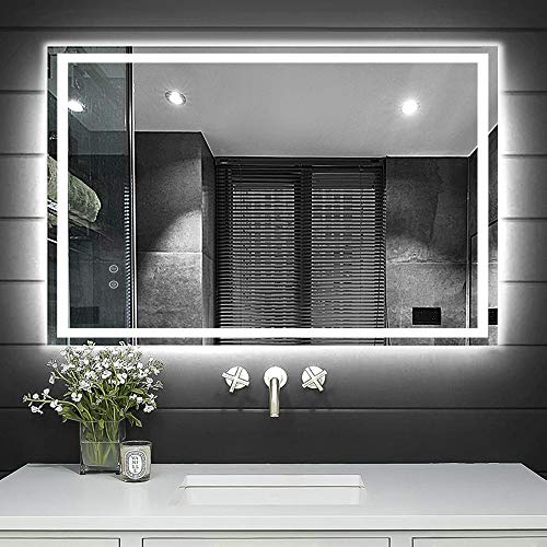 DLLT Dimmable Wall Mounted Mirror with Light, 32 x 24 Touch LED Lighted Bathroom Mirrors, Makeup Vanity Mirror with Lights for Bedroom, Waterproof Wall Lighting Mirror, Anti-Fog, (Horizontal/Vertical)