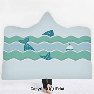 Fishing Decor 3D Print Soft Hooded Blanket Adult Premium Throw Blanket,Lightweight Microfiber,Fish Tail and Starfish Swimming in Flat Waves Submarine Comic Illustration,All Season for Adult(60