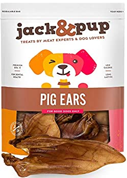 Jack&Pup Whole Pig Ears for Dogs - Extra Thick Large Pigs Ears - Premium Odor Free Dog Pig Ear Treats - Natural Dog Pork Chews  Excellent Rawhide Alternative  10 Pack