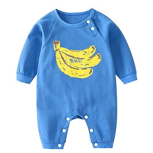 ChubbyBaby ベビー服 ロンパース 男の子 女の子 新生児服 長袖 子供服 出産祝い 春秋 果物柄 (バナナ, 73cm)