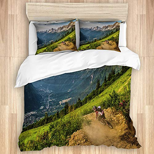FOURFOOL Bedding Juego de Funda de Edredón,Bosque Francia Mont Blanc montaña Colina Pendiente,Microfibra Funda de Nórdico y Fundas de Almohada-(Cama 220 x 240cm)
