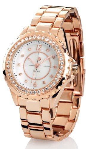 Crell Damenarmbanduhren: Elegante Quarz-Armbanduhr mit Strass, rotgold (Armbanduhr Damen)