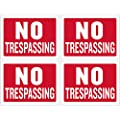 Kicko No Trespassing Sign - 4 Pack - 12 x 16 Inch All-Weather Plastic Coated Tags for Personal Property Signage, Business Purposes, Commercial Posts in Stores, Garages, Booths
