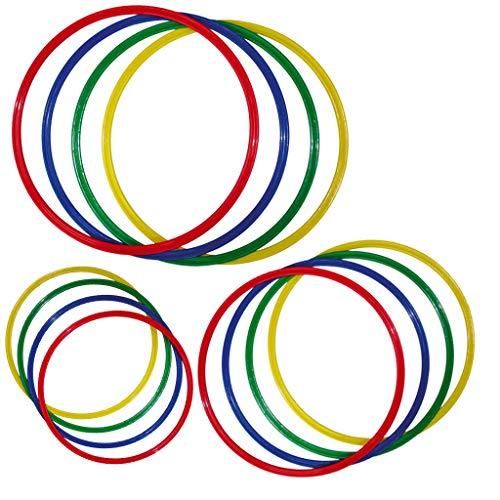Wiemann Lehrmittel Gymnastikreifen-Set, 4 Stück, flach, bunt, aus Kunststoff (Ø 50 cm)
