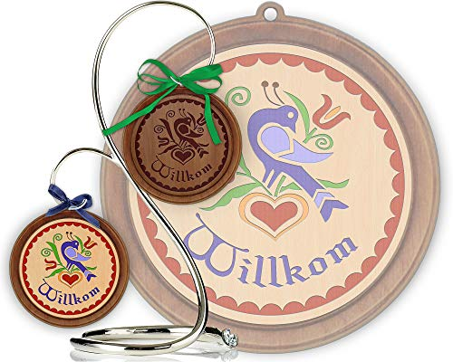 Red Tail Crafters Welcome SDF 3in/4in Hardwood Ornament PA Dutch Laser-Engraved Hex Sign